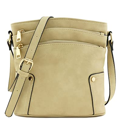 a730222152 Triple Zip Pocket Medium Crossbody Bag (Beige)  Handbags  Amazon.com