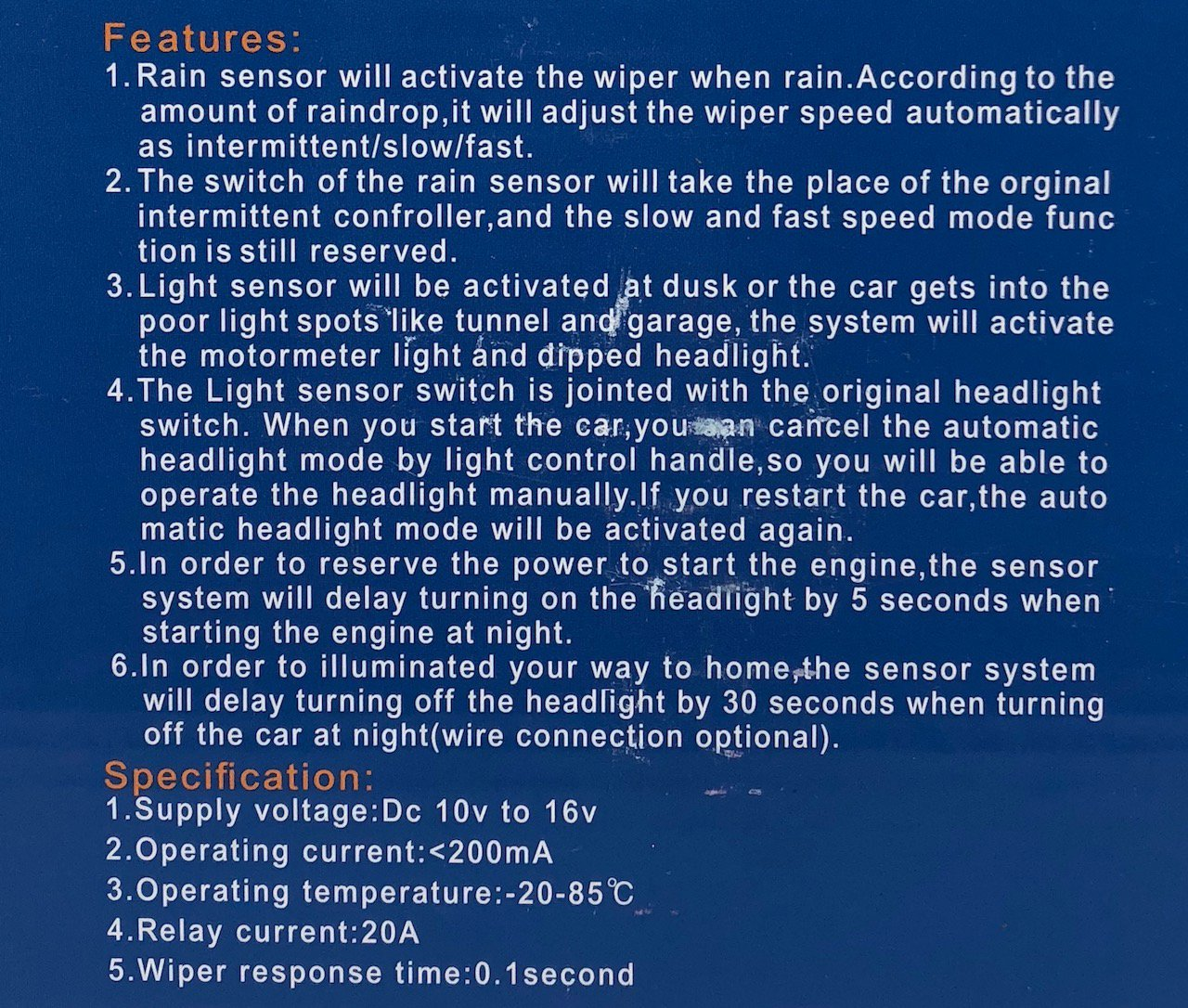 Sports Imports LLC Universal Automatic Car Rain Sensor and Light Sensor kit 2 in 1 Sensor by Sports Imports LLC