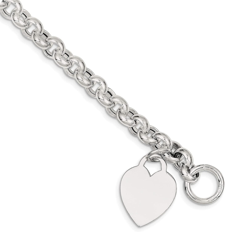 "925 Sterling Silver Polished and Engravable 4mm Heart Charm Bracelet 7.25/"""