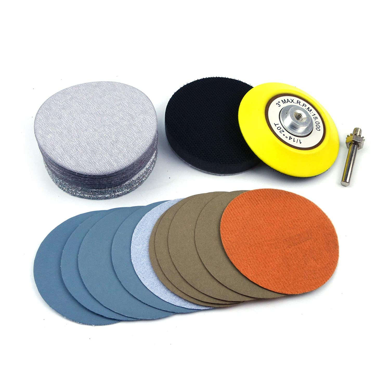 e-ROOKIE 3 inch Multiple Grits Aluminum Oxide Dry & Wet/Dry Hook Loop Sanding Discs a 1/4 inch Shank Backing Pad + Soft Foam Buffering Pad, 5-Pieces Each 60, 240, 600, 1000, 5000 10000 Grits