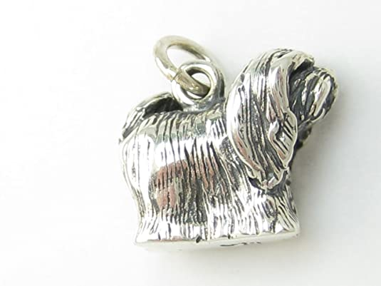 Lhasa Apso dog sterling silver charm .925 x 1 Lhasas Dogs charms DKC43875