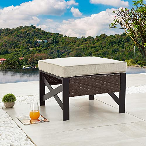 Festival Depot Dining Outdoor Patio Bistro Furniture Ottoman Footstool with X Shape Slatted Steel Frame Foot Rest with Premium Fabric Soft Cushion Wicker Rattan Square for Garden Yard Lawn All-Weather