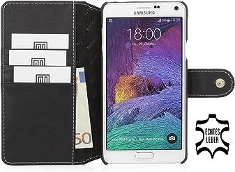 StilGut® Talis con bottote, custodia in pelle con scomparti interni per Samsung Galaxy Note 4, nero nappa