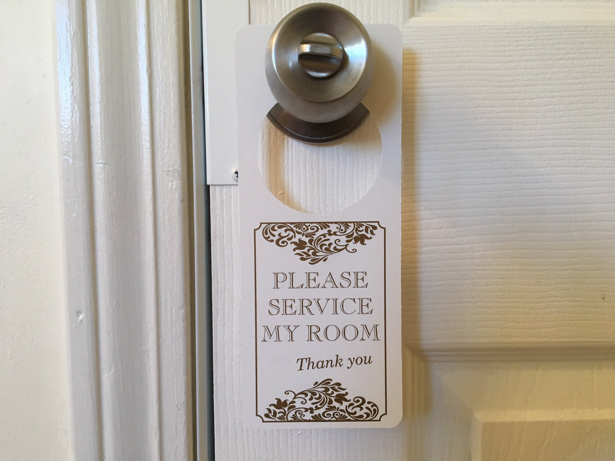 SecurePro Signs ''Do Not Disturb''/''Please Service Room'' Premium Quality PVC Door Hanger; Metallic Gold Text on Solid White Background; 3.25'' Wide x 8'' Tall (5)