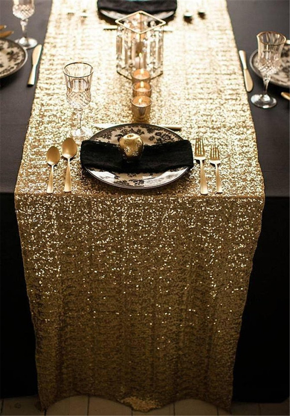 Sequin Table Cloth Sequin Tablecloths Sequin Linens TRLYC 12*108 Gold Sequin Table Runner