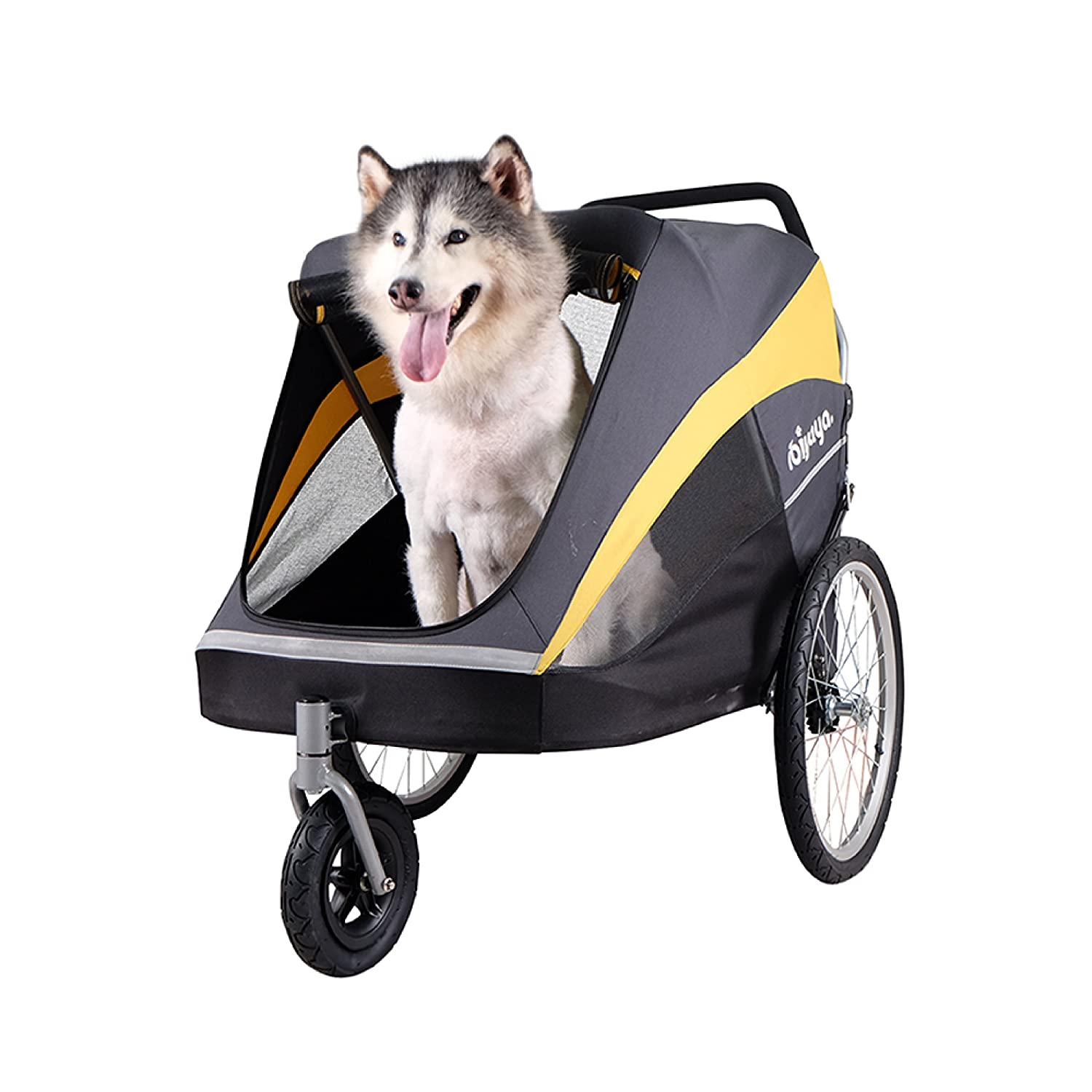 Large Pet Stroller for one Large or Multiple Medium Dogs with air Filled tire Suspension and Aluminum Frames, rain Cover Included