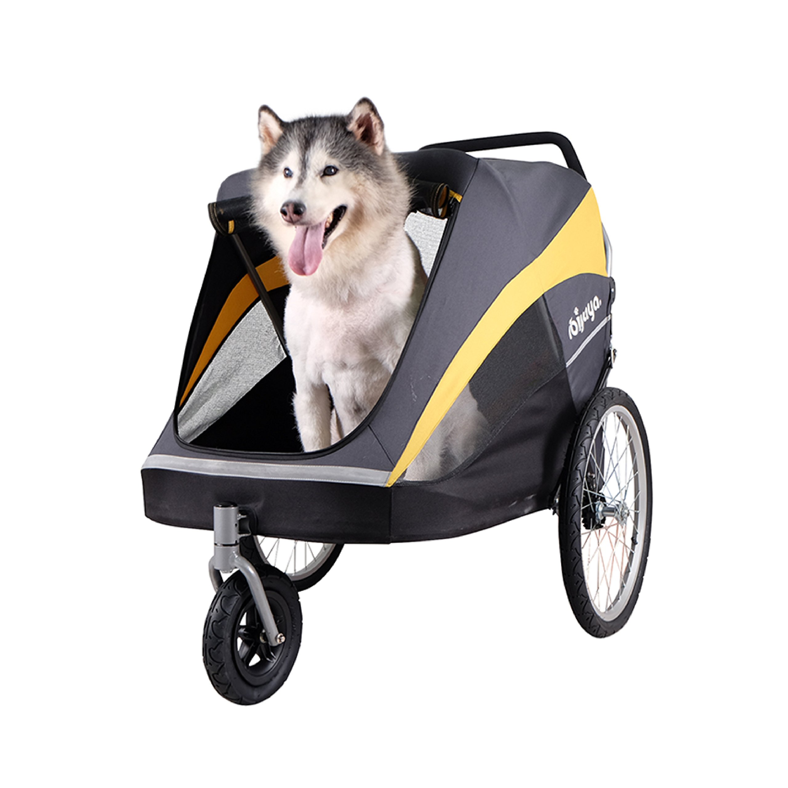 Large Pet Stroller for one Large or Multiple Medium Dogs with air Filled tire Suspension and Aluminum Frames, rain Cover Included by ibiyaya