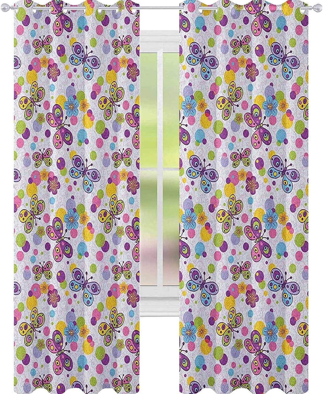 YUAZHOQI - Cortina de ventana con diseño de mariposas y fondo de lunares con diseño de flores inspiradas en la vendimia decoración de animales, 132 x 274 cm, multicolor