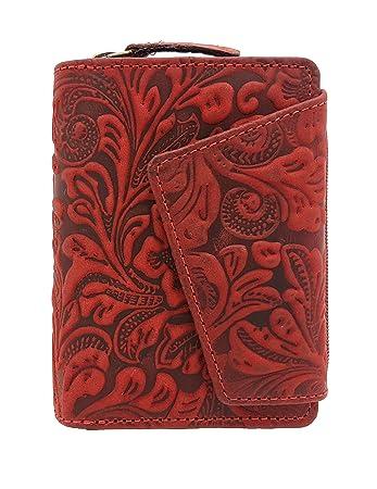 e49cfec69c082 außergewöhnliche echt Leder Damen Geldbörse mit Außenriegel Jockey Club  Liane florale Motive
