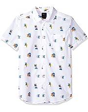 RVCA Men's Margo Short Sleeve Woven Button Down Shirt