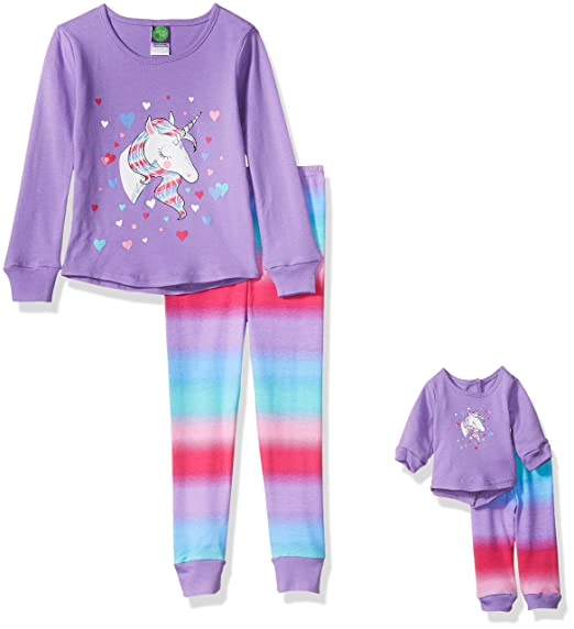 Dollie   Me Little Girls  Unicorn Snugfit Sleepwear Set 751295854