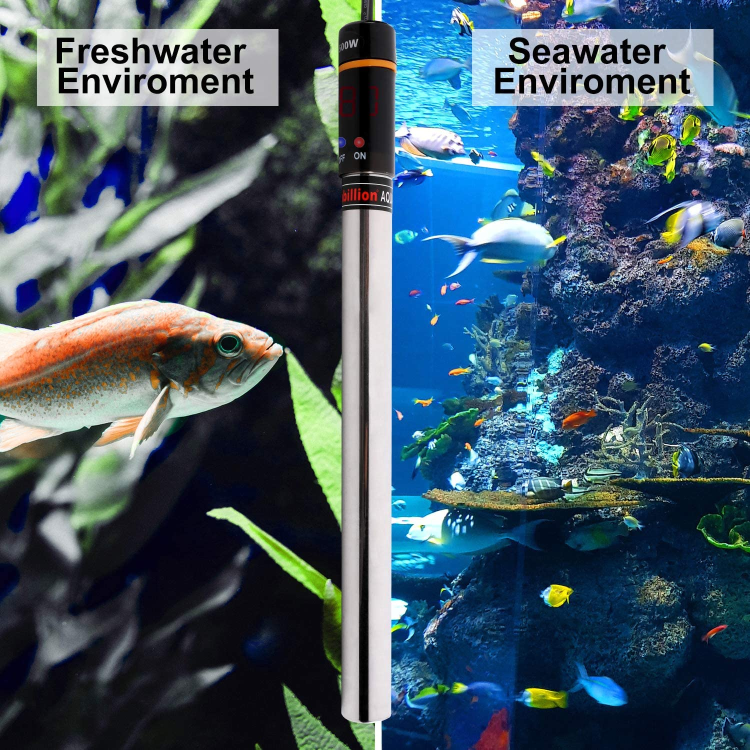 MUCH 500W Aquarium Heater Auto Thermostat Submersible Titanium Fish Tank Heaters with Intelligent LED Temperature Display and External Temperature Controller for Saltwater or Freshwater 70-80 Gallon