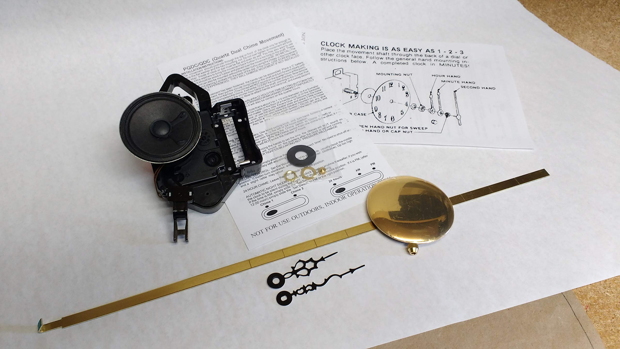 Seiko 4/4 Westminster & Whittington Chime Movement - Pendulum Movement - Clock Repair Parts Kit (Short Shaft)