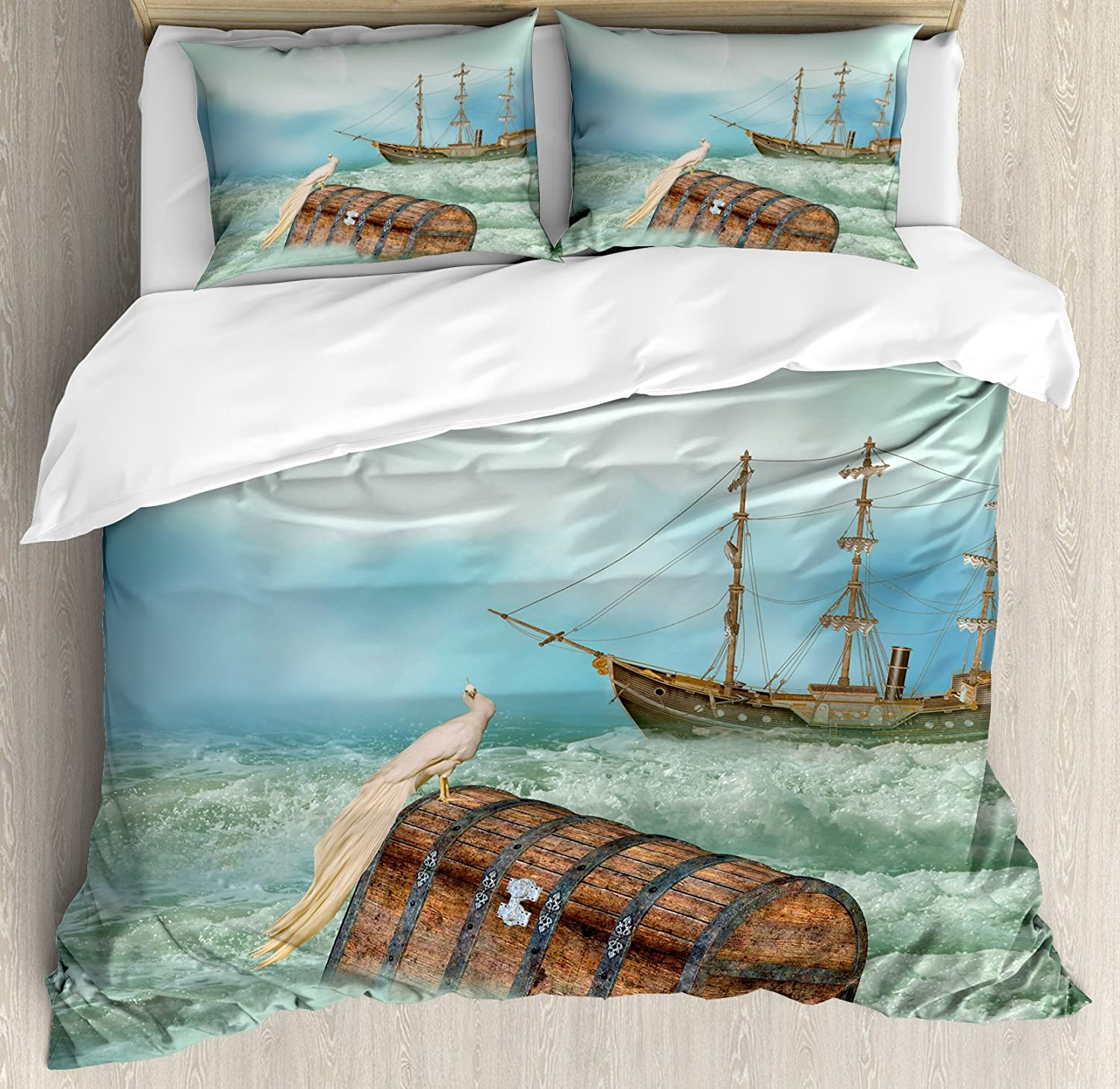 Antique Marble Stone with Blurry Distressed Motley Fractal Effects Illustration Blue nev/_19438/_queen 3 Piece Bedding Set with Pillow Shams Ambesonne Apartment Decor Duvet Cover Set Queen//Full