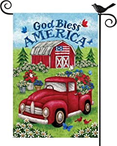 Kuchluse Floral Truck Garden Flags God Bless America Yard Flags, Double Sided Vertical Burlap Flags Vintage Truck Yard Decor Flags Decorative Seasonal Banners, 12.5 x 18 Inch