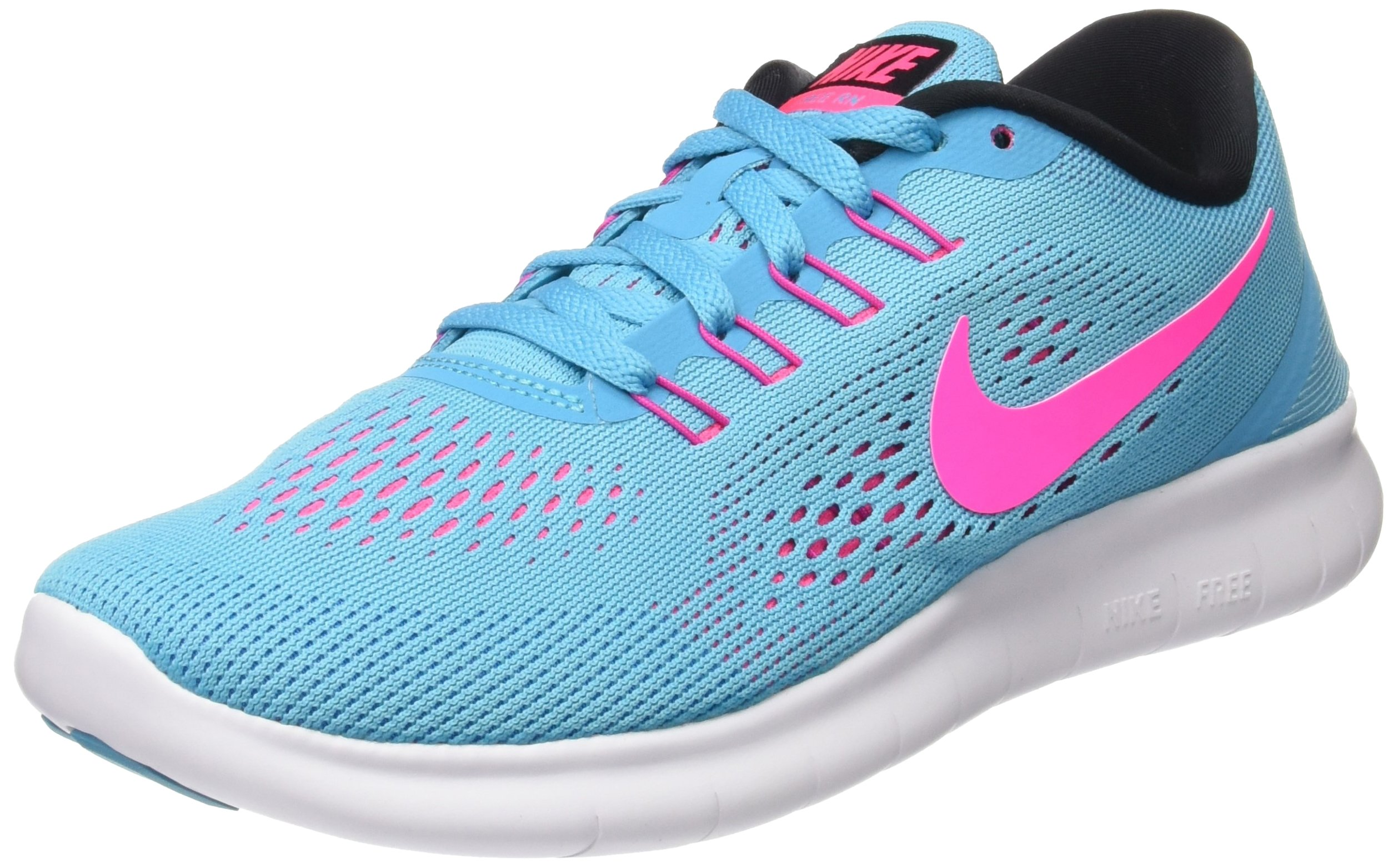 Nike Women's Free RN Running Shoes (7.5 B(M) US, Gamma BlueBlackPink BlastPhoto Blue)