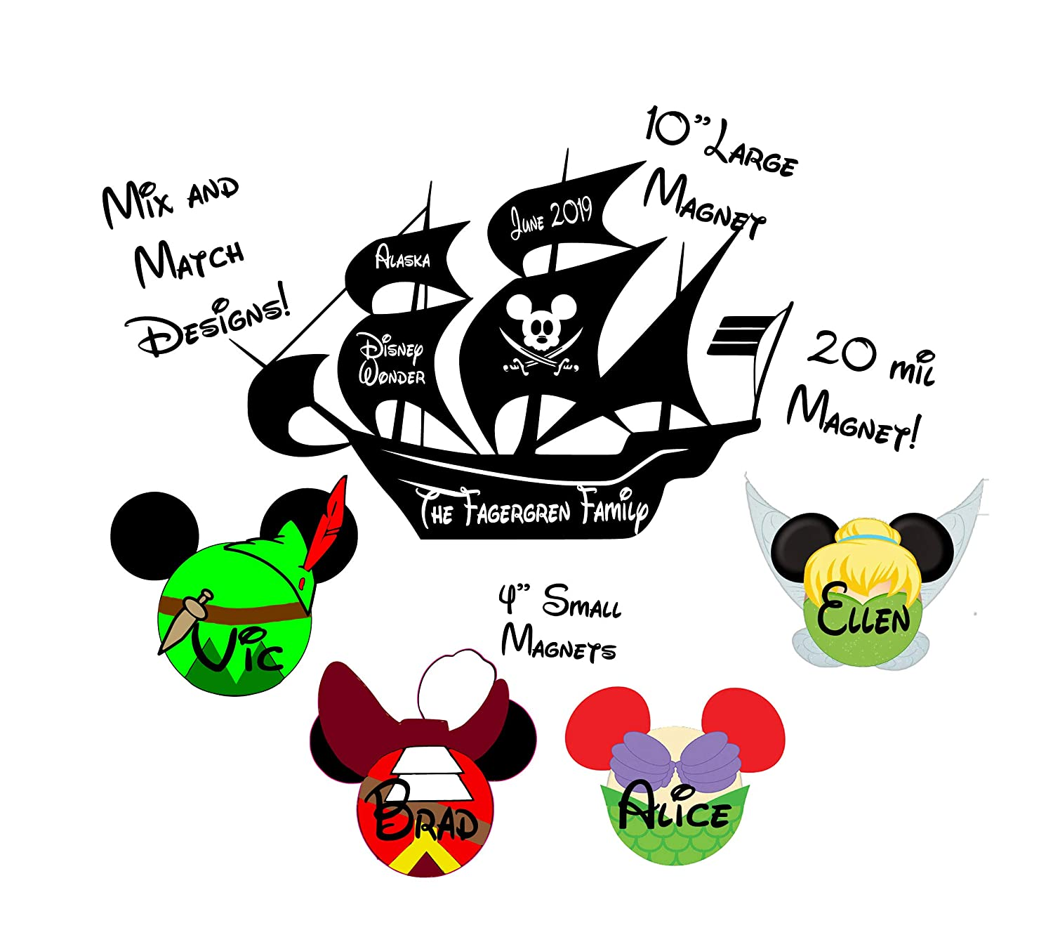 Personalized Door Magnet Sign Custom Pirate Ship Cruise Magnet