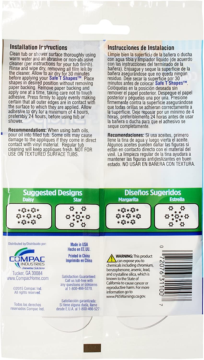 Compac Select Safe-t-Shapes Bathtub Decals 14/ Count White Daisy