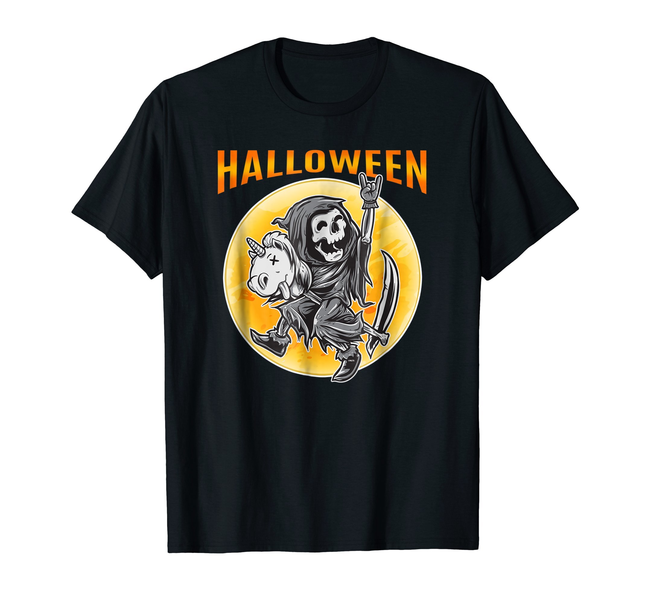 Death-Reaper-on-a-Toy-Unicorn-Funny-Halloween-costume-Tee