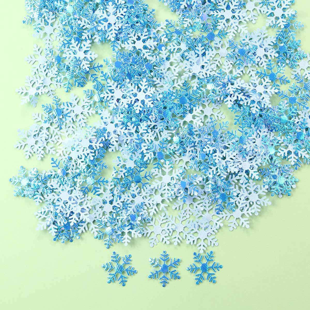 Azul 2 cm dise/ño de Copo de Nieve de pl/ástico con Purpurina KOBWA Confeti de Copos de Nieve Blancos 200 Unidades