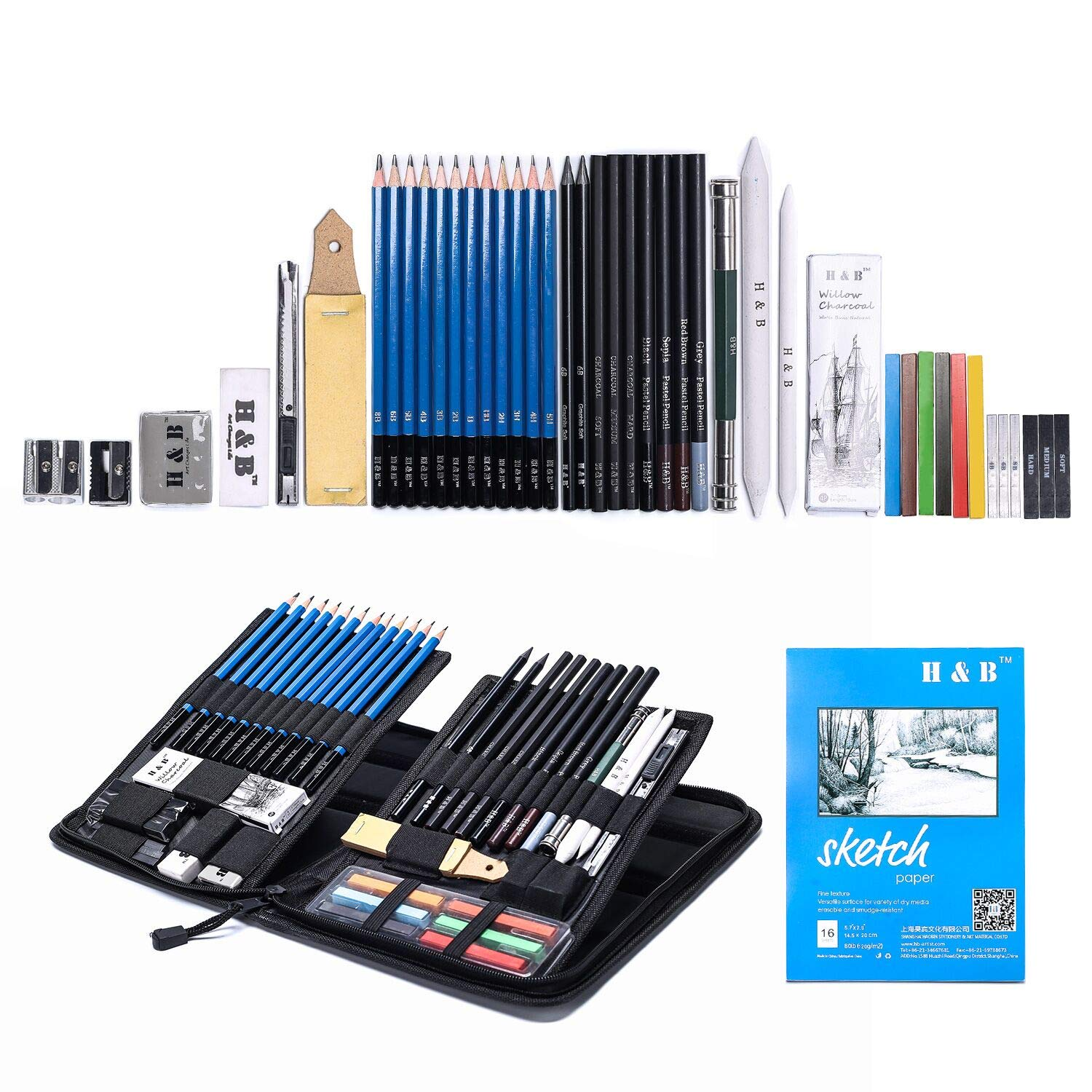 Amazon com h b sketching pencils set drawing and sketch kit 48 piece arts crafts sewing