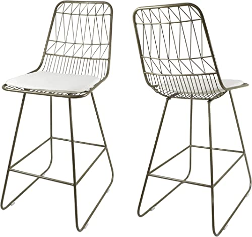 Christopher Knight Home 307603 Lilith Counter Stools, 26 Seats, Modern, Geometric, Light Brass Iron Frames with Ivory Cushion Set of 2