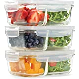 Fit & Fresh Divided Glass Containers, 3-Pack, Two Compartments, Set of 3 Containers with Locking Lids, Glass Storage…