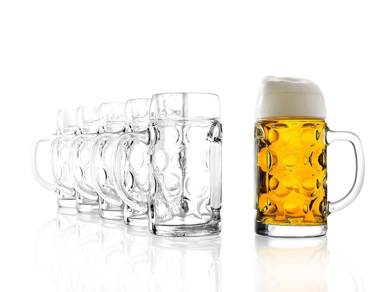 Stölzle Oberglas ISAR, 6x Maßkrug 0,5 l- Original Biermaßkrug Oktoberfest, Bierglas, Tradition, Augenkrug, hochwertige Qualität