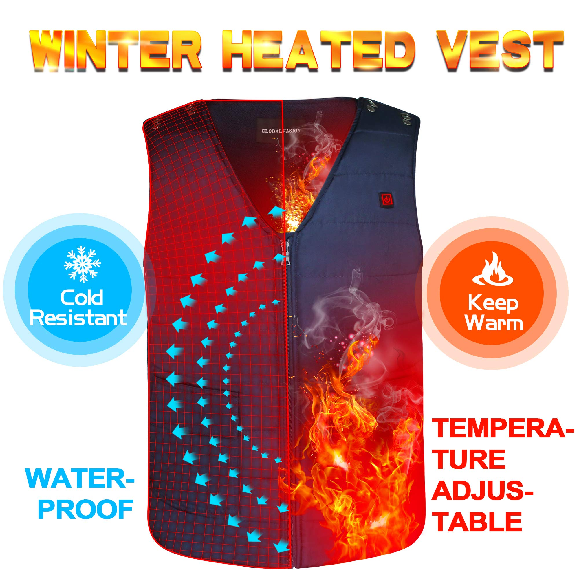 Autocastle Men Women Electric Battery Powered Heated Vest Rechargeable Puffer Down Gilet,Waterproof Heat Insulate Waistcoat for Sports&Outdoors,Skiing Skating Climbing Hiking Heat Vests,Navy by Autocastle