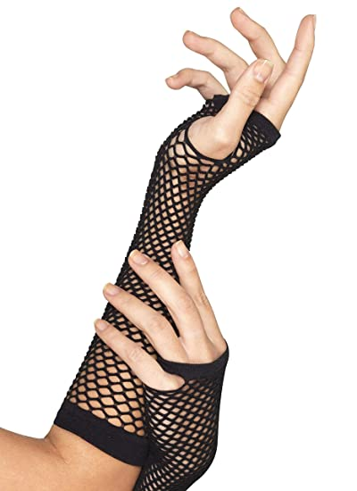 5545aaed786d2 Smiffys Women's Long Fishnet Gloves, Fingerless, Black, One Size, 44872