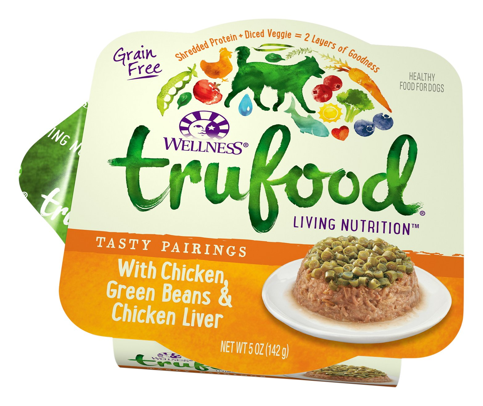 Wellness Trufood Tasty Pairings Natural Grain Free  Wet Raw Dog Food, Chicken, Green Beans & Chicken Liver, 5-Ounce Cup (Pack Of 24) by Wellness