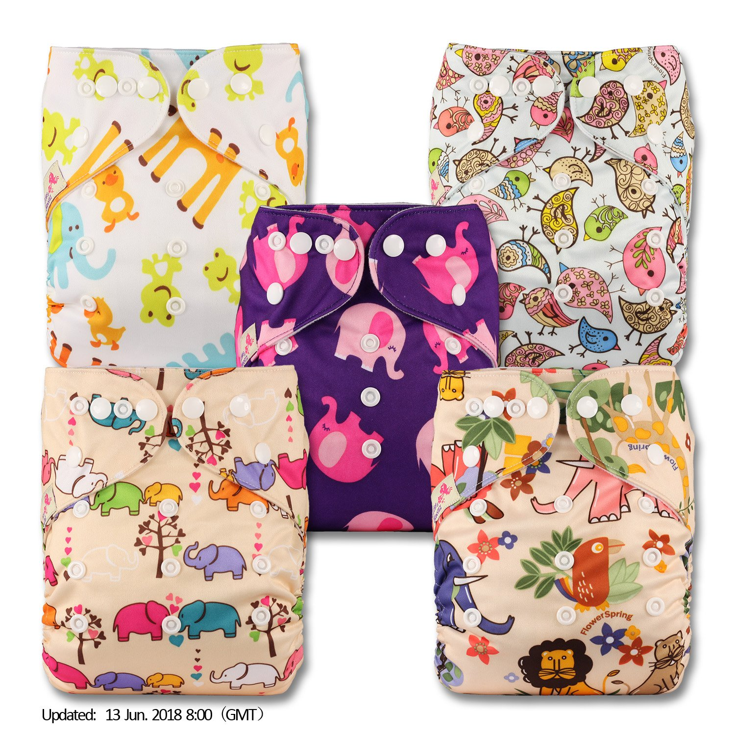 Set of 5 Patterns 503 Fastener: Popper with 5 Bamboo Charcoal Inserts Littles /& Bloomz Reusable Pocket Cloth Nappy