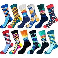 Abogel Calcetines Divertidos Hombres, Fantasía De La Tripulación Colorido patrón Calcetines para Hombre 39-46