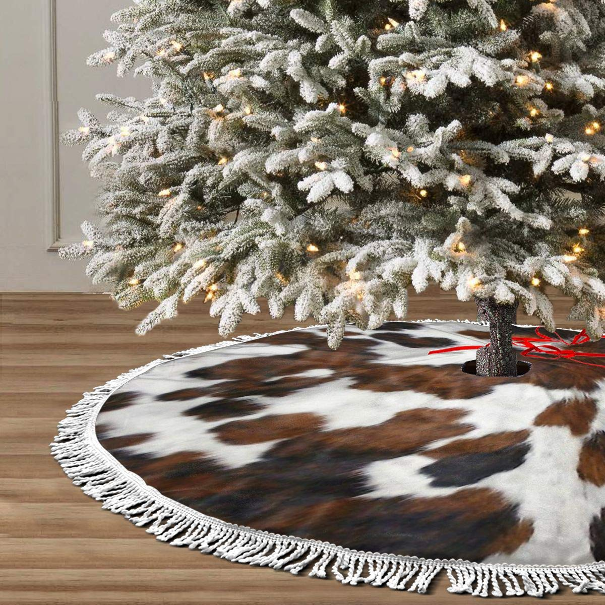 Black and White Texture Christmas Tree Skirt Xmas Tree Skirt Christmas Decorations for Xmas Festive Holiday Ornament New Year Party 30 36 48 SSLife Cowhide Tan