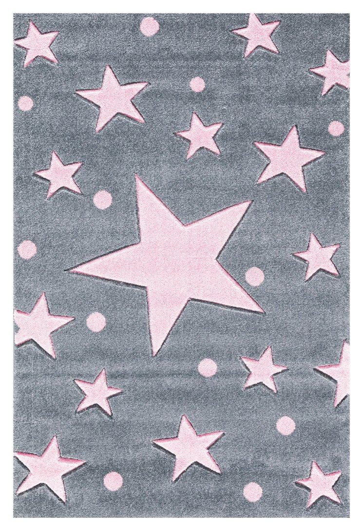 Livone Kinderteppich Happy Rugs Stars Silbergrau rosa 200 x 300 cm