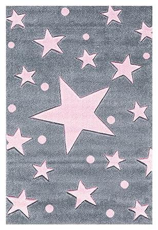 Tapis enfants Happy Rugs ÉTOILES gris/rose 80x150 cm: Amazon.fr ...