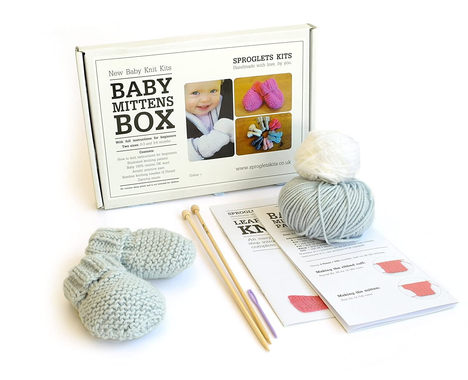 Beginner Baby Mitten Knitting Kit - Sizes 0-3 & 3-6 months - 100 ...