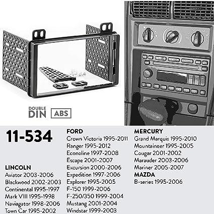 UGAR 11-534 Trim Fascia Car Radio Installation Mounting Kit for Ford Crown  Victoria 1995-2011, Ranger 1995-2012