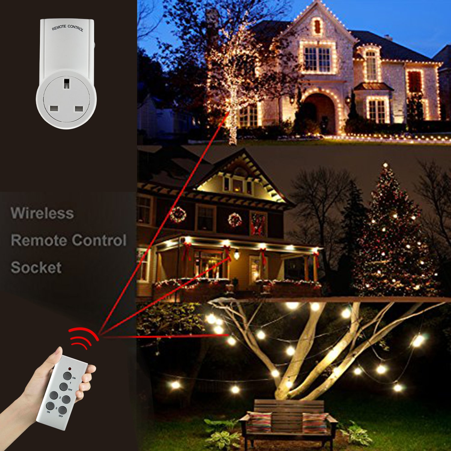 Discoball Wireless Remote Control Sockets Household Appliances /& Smart Home Electrical Outlet Light Switch Plug Cover 30m//100ft Operating Range
