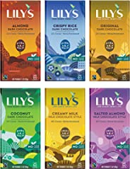Lily's Chocolate Variety 6 Pack | Stevia Sweetened, No Added Sugar, Low- Carb, Keto Friendly | 6 Flavors, 1 Bar each | Sample