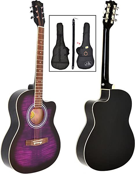 ts-ideen - Guitarra acústica western (4/4, incluye funda acolchada, correa, cuerdas de repuesto y silbato afinador), color negro y lila: Amazon.es: Instrumentos musicales