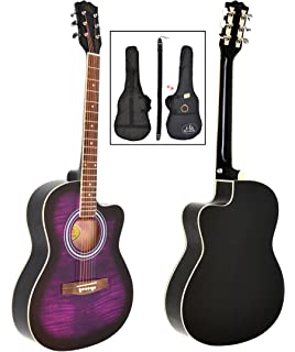 ts-ideen - Guitarra acústica western (4/4, incluye funda acolchada,