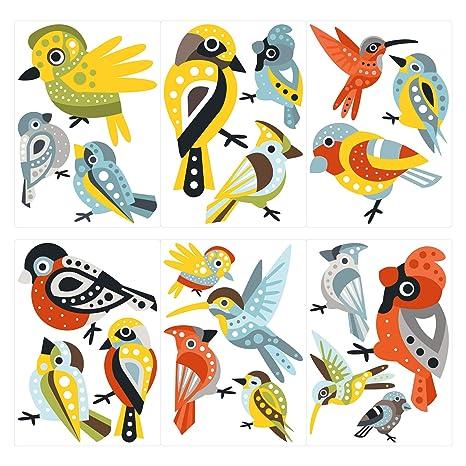 Pegatina de pared Juego de habitación infantil Lindos pájaros con ...