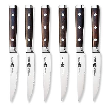 FOXEL Clásico juego de 6 cuchillos para carne con mango de madera de ébano - Hoja