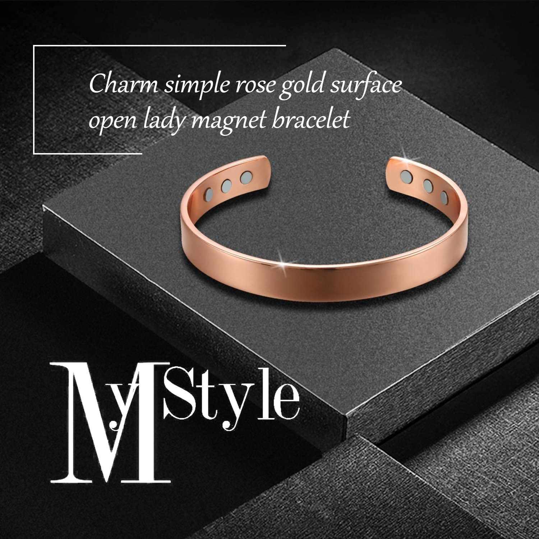 OIDEA Damen Magnet Armband Rosegold, verstellbar Kupfer