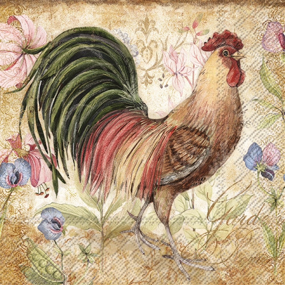 Celebrate the Home Vintage Farm 3-Ply Paper Cocktail Napkins, Proud Rooster, 20-Count