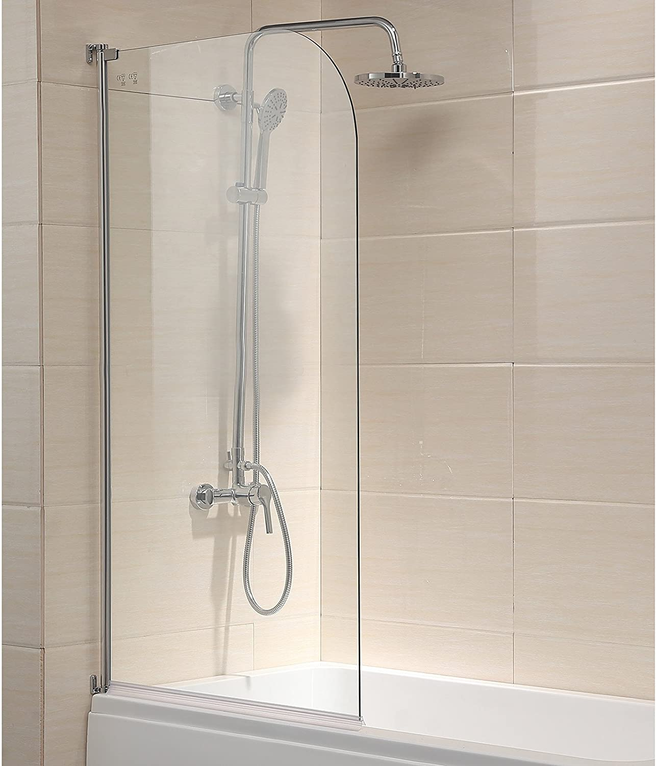 mecor Shower Bath Screen,Bath Shower Panel, Folding Glass Shower Screen, 180° Pivot Frameless