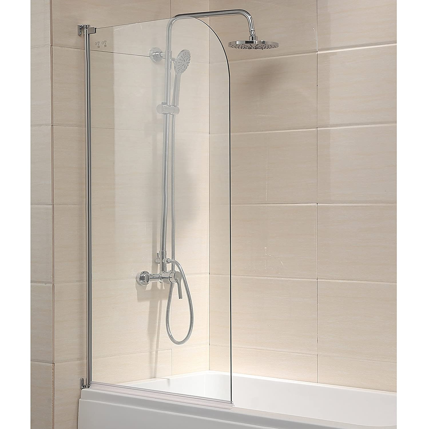 Mecor 55x31 bathtub shower door 1 4 clear glass hinged pivot radius frameless chrome finish amazon com