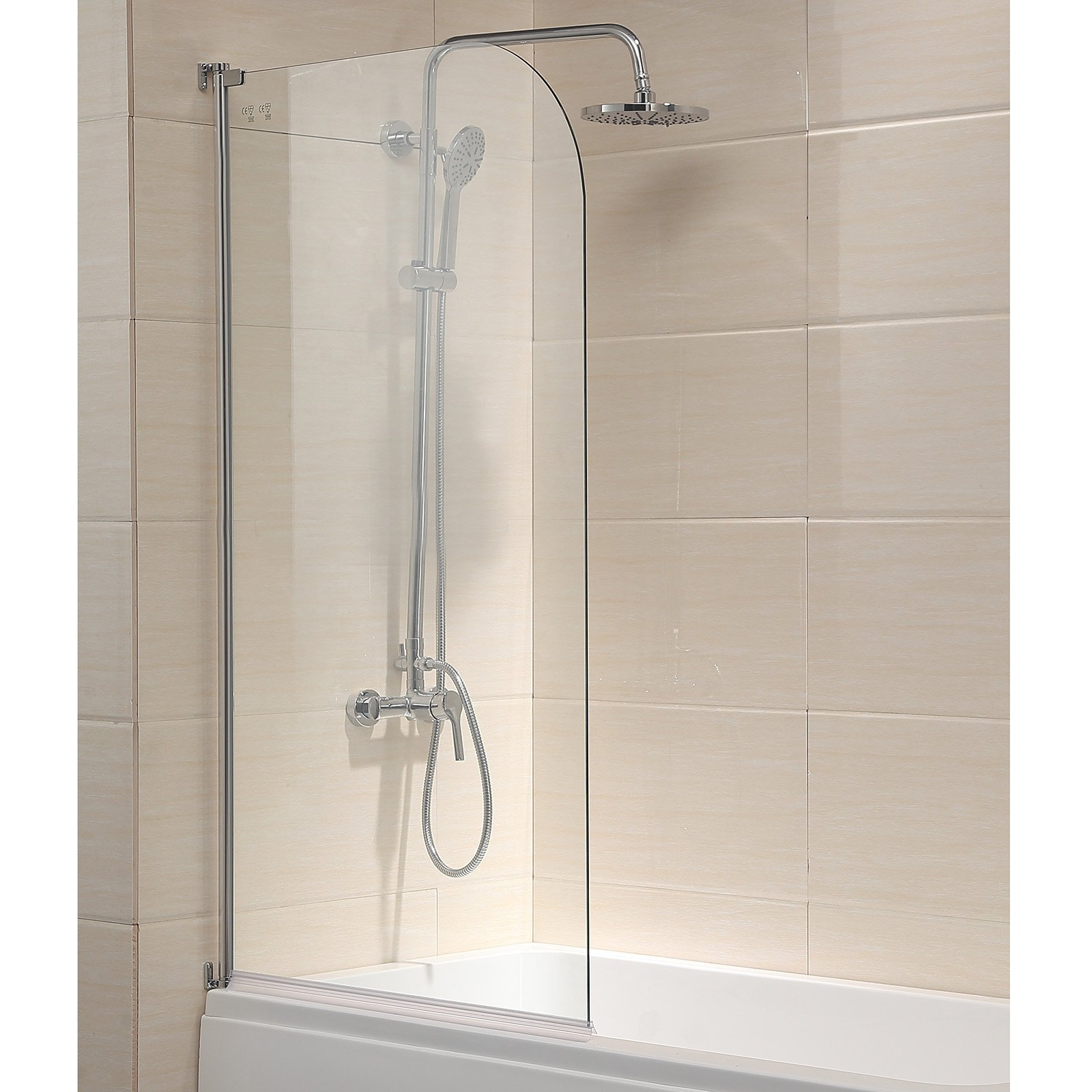 Mecor 55''X31'' Bathtub Shower Door 1/4'' Clear Glass Hinged Pivot Radius Frameless Chrome Finish