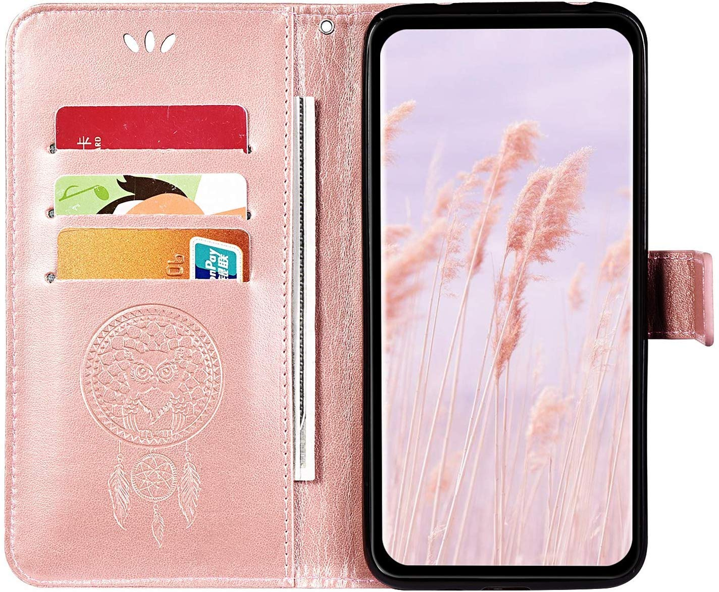IKASEFU Compatible with LG Aristo 2 Case Pu Leather Wallet Strap Case Card Slots Shockproof Magnetic Kickstand Slim Folio Flip Book Cute Emboss Owl Wind chimes Protective Cover Case,black